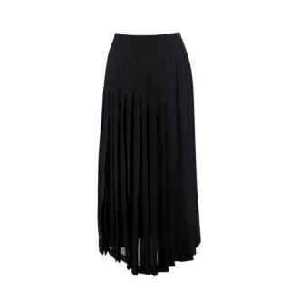 Chanel Black Pleated Silk Maxi Skirt