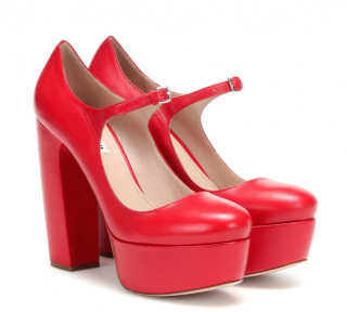 Miu Miu Red Leather Mary Jane platform pumps