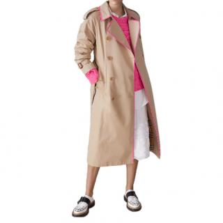 Burberry Neon Pink Trimmed Cotton Gabardine Trench Coat