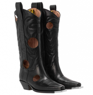 Off White Black Leather Meteor Shower Cowboy Boots