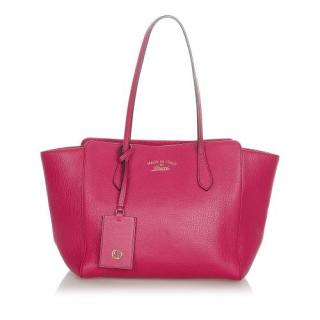 Gucci Pink Leather Swing Leather Tote Bag