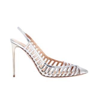 Aquazurra silver calfskin leather Cosima Sandals