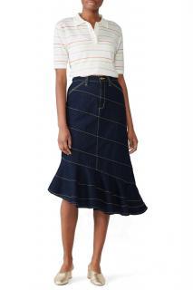 Tory Burch Asymmetric Stitch Denim Flared Skirt