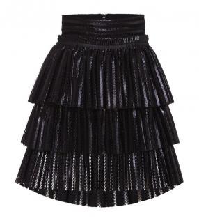 Maje Black Tiered Honeycomb Knit Juppon Skirt