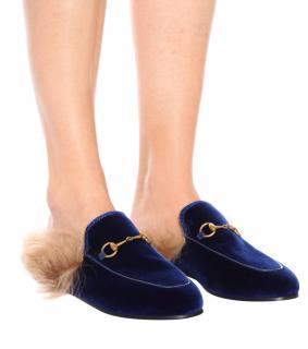 Gucci Fur Lined Blue Velvet Princetown Slippers