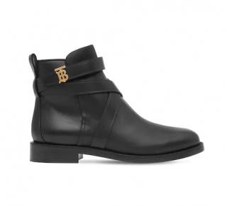 Burberry Black Leather 20mm Pryle Leather Flat Ankle Boots