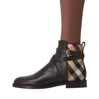Burberry House Check & Leather Black/archive Beige Ankle Boots