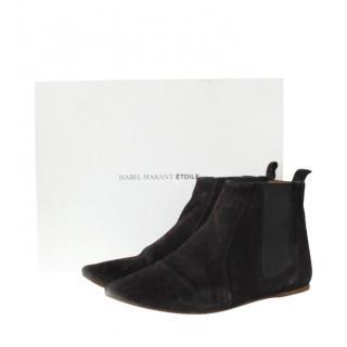 Isabel Marant Black Suede Flat Gaucho Boots