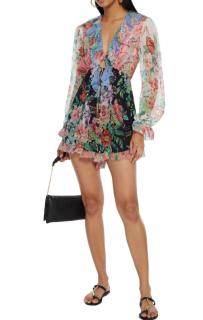 Zimmermann Bellitude Ruffled Multicolour Floral-Print Silk Playsuit