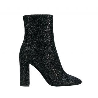 Saint Laurent Black Glitter Lou 95 Ankle Boots