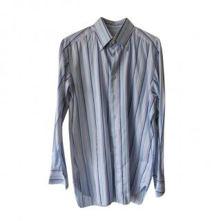 Zilli Blue Striped Cotton Men's Shirt