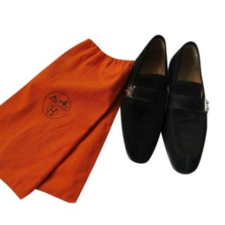 Hermes Black Suede Kelly Loafers