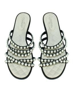 Chanel Black/Ivory Faux Pearl Flat Leather Sandals