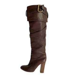 Chloe Chestnut Brown Buckle Wrap OTK Boots