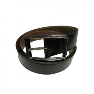 Hermes Brown & Black Reversible Belt - Size 90