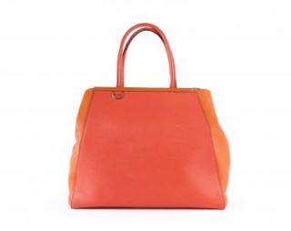 Fendi Orange Saffiano Leather 2Jours Large Tote Bag