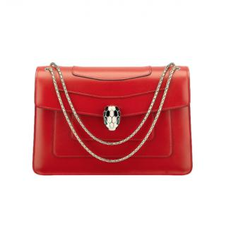 Bvlgari Red Leather Serpenti Forever Shoulder Bag
