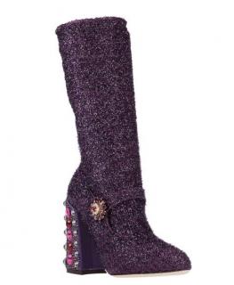 Dolce & Gabbana Purple Fil Coupe Mary Jane Sock Boots