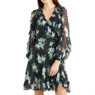 Zimmermann Navy Ruffled Printed Swiss-Dot Silk Georgette Wrap Dress
