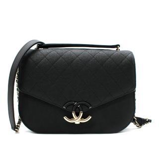 Chanel black caviar calfskin CC crossbody bag