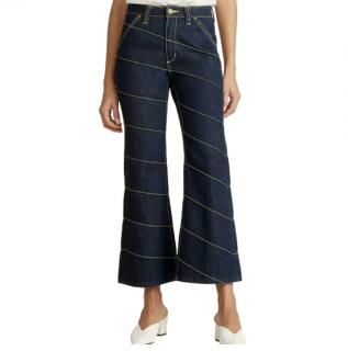 Tory Burch Asymmetric Stitch Flare Crop Jeans