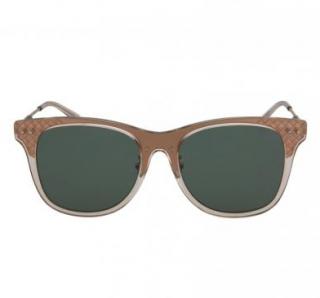 Bottega Veneta Intrecciato Square-Frame Acetate Sunglasses
