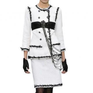 Chanel White & Black Fantasy Tweed Jacket & Skirt
