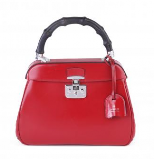 Gucci Red Leather Lady Lock Bamboo Top Handle Bag