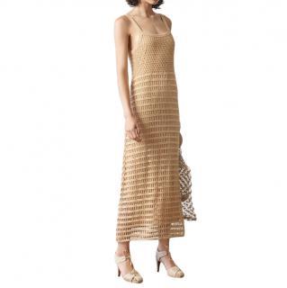Elizabeth & James Edna Beige Cotton Crochet Maxi Dress