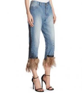Johanna Ortiz Petra embellished feather cuff mid wash jeans