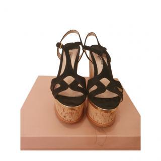 Miu Miu Black Suede Cut-Out Wedge Sandals