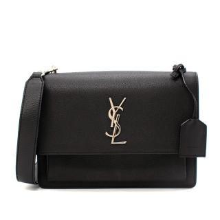 Saint Laurent Black Leather Medium Sunset Satchel Bag