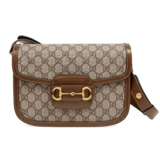 Gucci GG Supreme / Brown Gucci 1955 Horsebit Shoulder Bag
