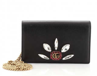 Gucci Chain Wallet Marmont Gg Embellished Mini Black