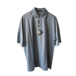 Marbas Blue Silk Jersey Polo Shirt
