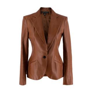 Ralph Lauren Tan Leather Single Breasted Blazer
