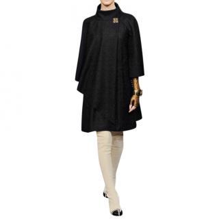 Chanel Paris/Byzance Black Wool Cape Coat