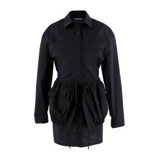 Jacquemus Black Cotton Coup de Soleil Mini Dress