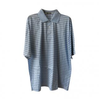Marbas Blue Cotton Striped Polo Shirt