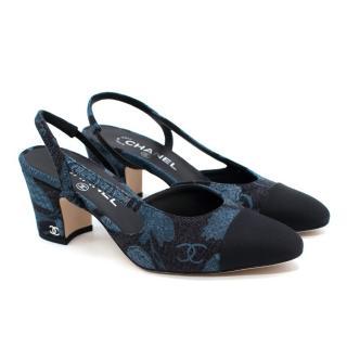 Chanel Black & Blue Denim Block Heel Slingback Pumps