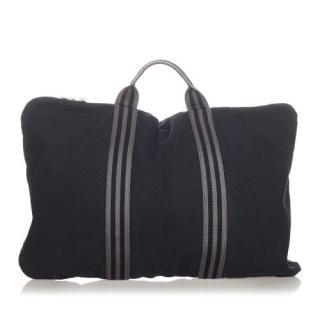 Hermes Black Canvas Herline Business Travel Bag