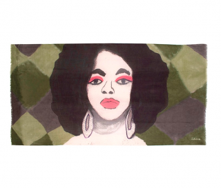 Lalela Green Camo Artwork Print Wool & Silk Scarf