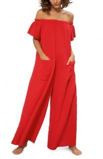 Mara Hoffman Blanche Off Shoulder Cotton Wide Leg Cover Up Jumpsuit