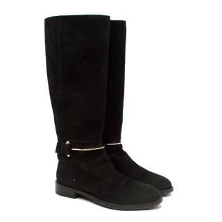 Balenciaga Black Suede Long Riding Boots