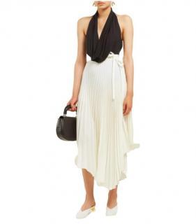A.W.A.K.E Mode Ivory Pleated Wrap Midi Skirt
