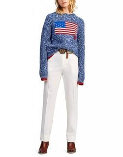 Polo Ralph Lauren Blue Speckled Flag Intarsia Knit Jumper