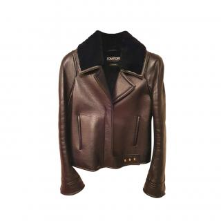 Tom Ford Fur Lined Leather Aviator Jacket