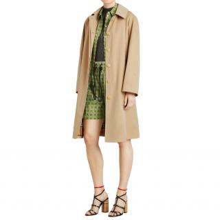 Burberry Honey Technical Cotton Car Coat with Removable Hood