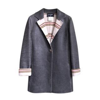 Chanel Paris/Dallas Anthracite Coated Cashmere Coat
