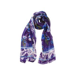 Escada Blue/Violet Floral Print Silk Scarf